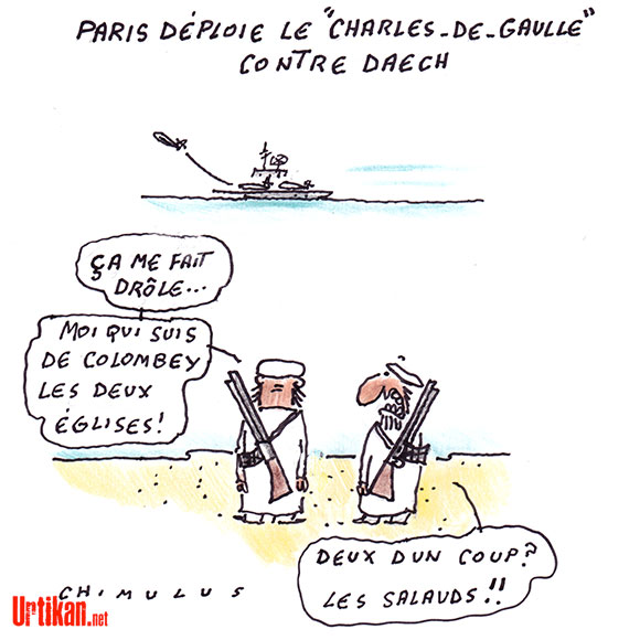 Le porte-avions Charles de Gaulle engagé contre l'EI - Dessin de Chimulus