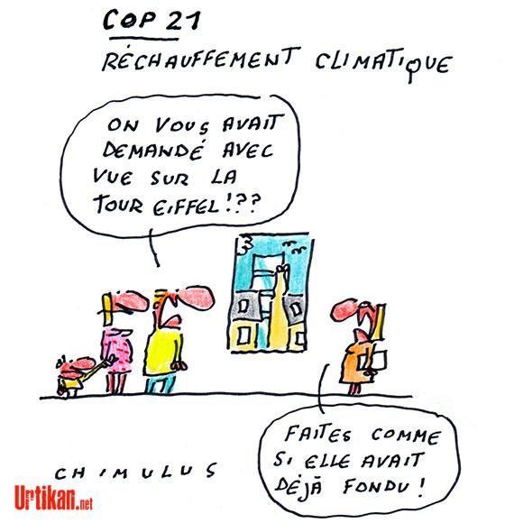 La Tour Eiffel se met au vert pour la COP21 - Dessin de Chimulus