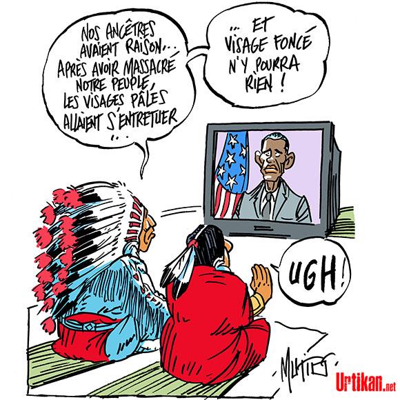 Obama en larmes en évoquant les enfants tués par armes à feu - Dessin de Mutio
