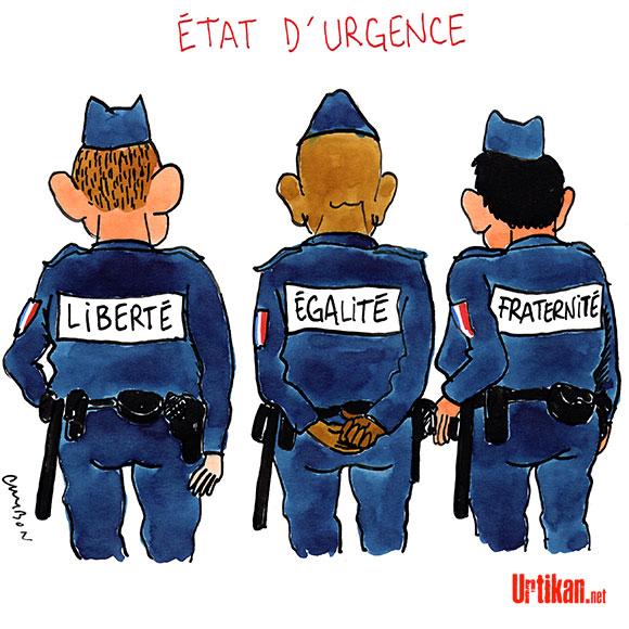 Le gouvernement veut étendre les pouvoirs de la police hors état d'urgence - Dessin de Cambon