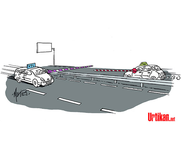 Le conflit taxis / VTC - Dessin de Mutio