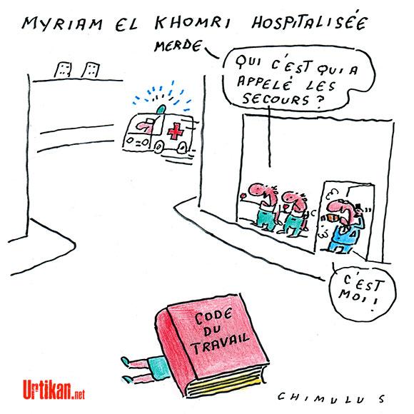 Myriam El Khomri hospitalisée après un malaise - Dessin de Chimulus