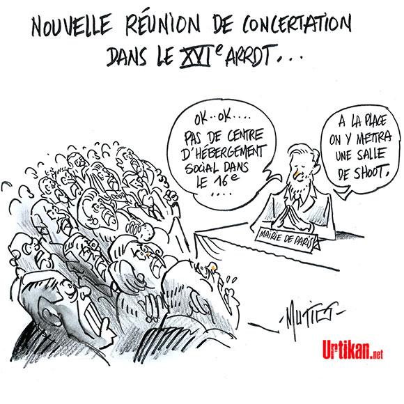"""Paris: """"Salope, connard, escroc"""", comment le 16e dit non aux SDF  - Dessin de Mutio"""