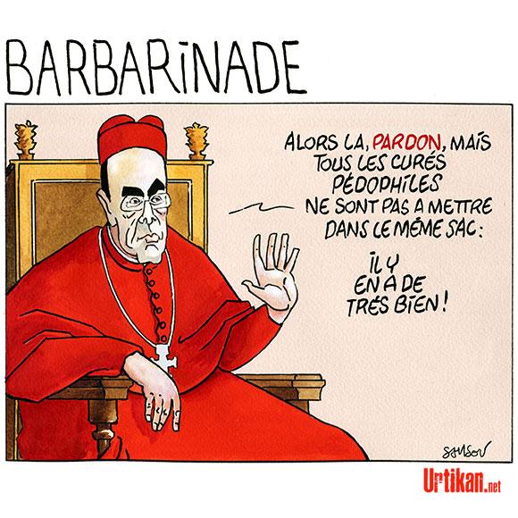 Le cardinal Barbarin demande « personnellement pardon » aux victimes de prêtres pédophiles - Dessin de Samson