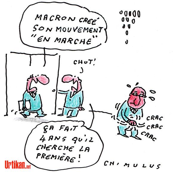 Emmanuel Macron lance son mouvement politique «En marche», «ni à droite ni à gauche» - Dessin de Chimulus