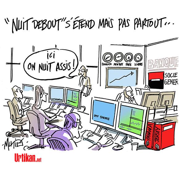 Société Générale : mouvements bancaires - Dessin de Mutio