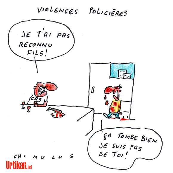 Une affiche de la CGT contre les violence policières fait polémique - Dessin de Chimulus