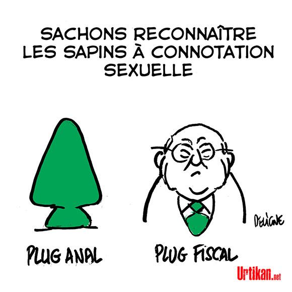 Michel Sapin a-t-il fait claquer l'élastique de la culotte d'une journaliste ? - Dessin de Deligne