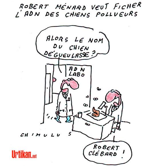Le caca de chien : la nouvelle croisade de Robert Ménard ! - Dessin de Chimulus