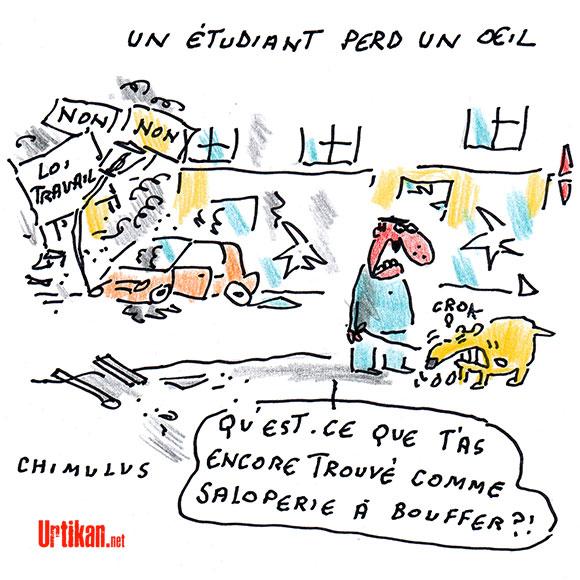 Un étudiant perd l'usage d'un oeil pendant la manifestation contre la loi travail à Rennes, l'IGPN saisie - Dessin de Chimulus