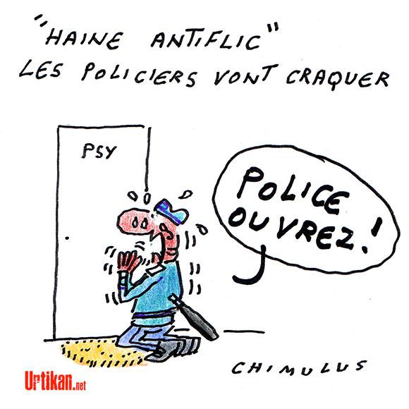 """Les policiers ont rendez-vous mercredi pour dénoncer la """"haine anti-flic"""" - Dessin de Chimulus"""