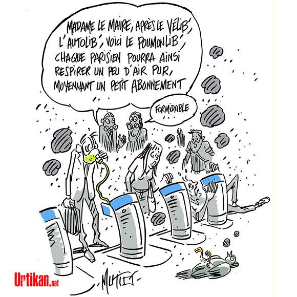 Pollution : les particules fines tuent 48.000 personnes en France chaque année - Dessin de Mutio