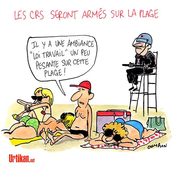 Quelle sécurité sur les plages cet été ? - Dessin de Cambon