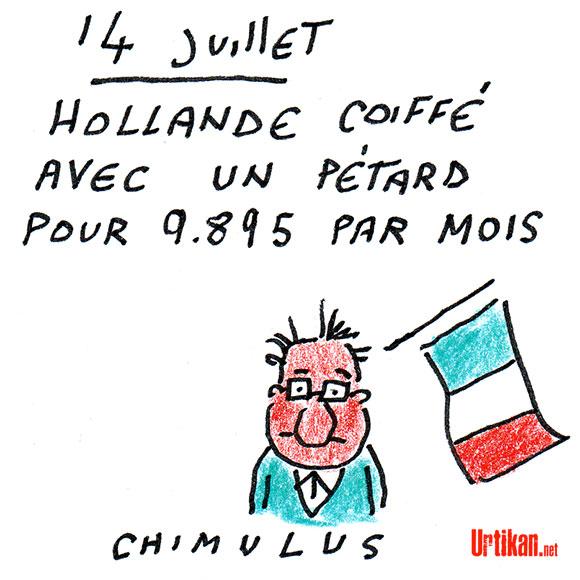 """Hollande en """"colère"""" en découvrant le salaire de son coiffeur, selon Trierweiler - Dessin de Chimulus"""