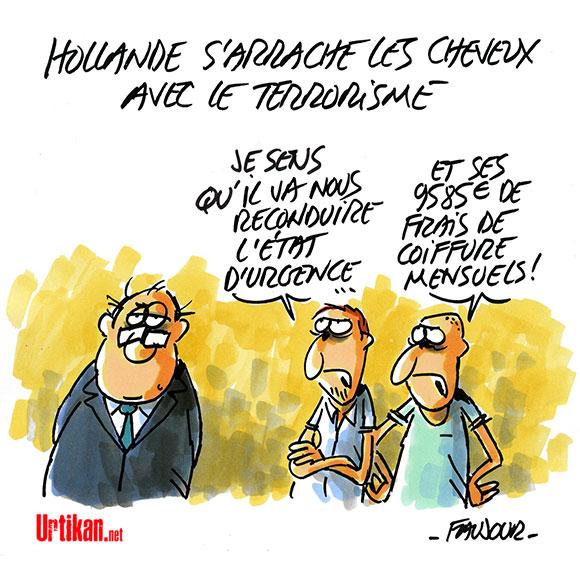 """Hollande invoque une """"obligation de dignité et de vérité"""" - Dessin de Faujour"""