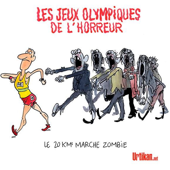 """Les Jeux olympiques de l'état islamique sont terminés... retour des """"participants"""". Dessin de Cambon"""