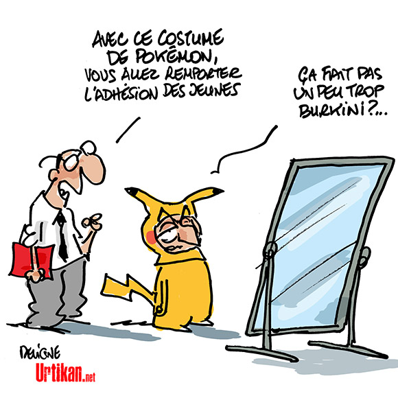 Nicolas Sarkozy : le jeu du Pokemon menteur - Dessin de Deligne
