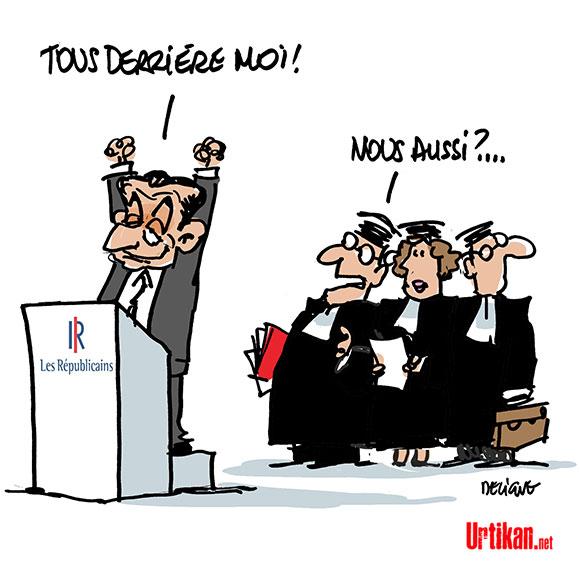 Le parquet demande un procès pour Nicolas Sarkozy dans l'affaire Bygmalion - Dessin de Deligne