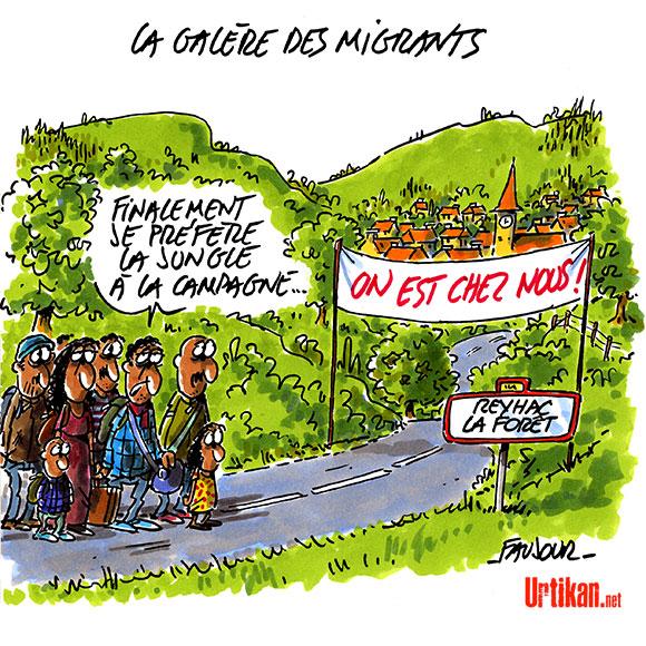 Ces villages qui grondent contre la répartition des migrants de Calais - Dessin de Faujour