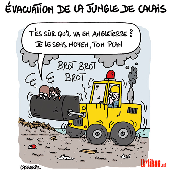 Des associations déposent un référé contre le démantèlement de la « jungle » de Calais - Dessin de Lasserpe