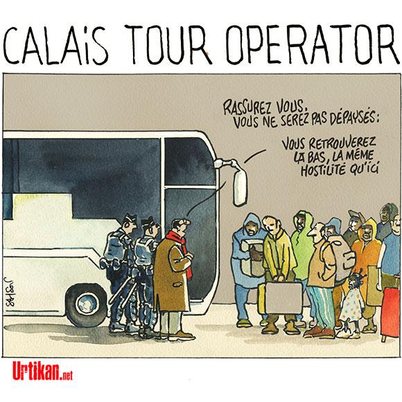 Calais : l'évacuation du camp est terminée - Dessin de Samson