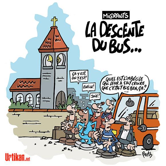 "Les migrants évacués de la ""Jungle"" de Calais dans leur région d'accueil - Dessin de Berth"