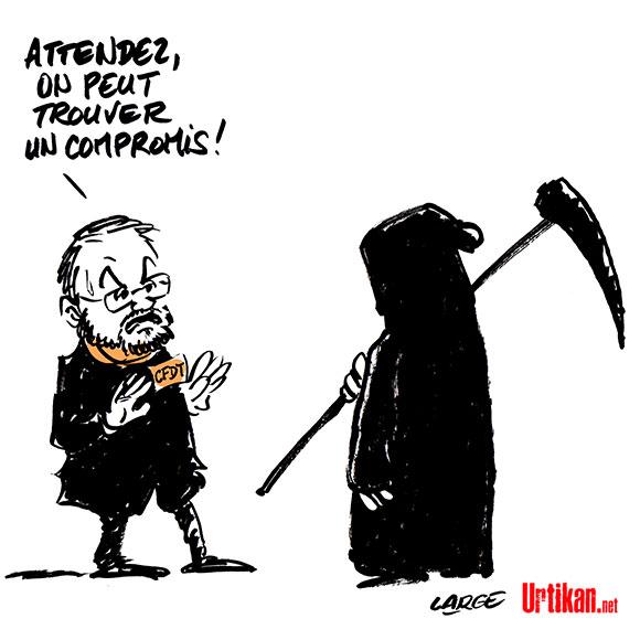 François Chérèque, ancien secrétaire général de la CFDT, est mort - Dessin de Large