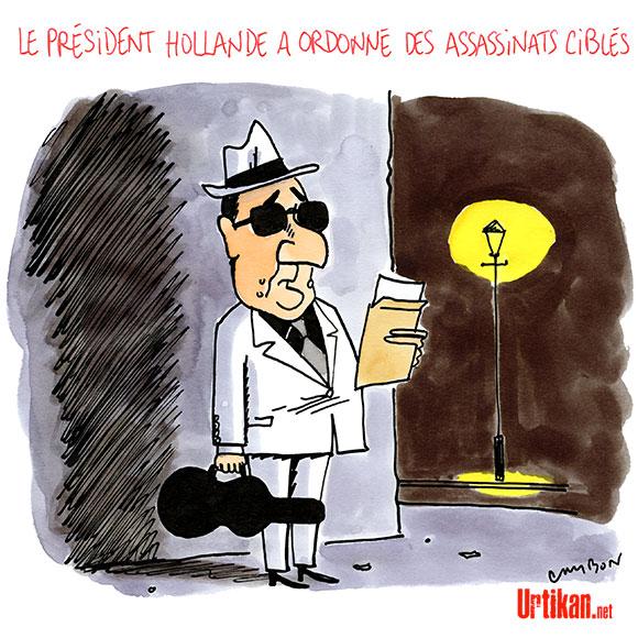 François Hollande et « le permis de tuer » - Dessin de Cambon