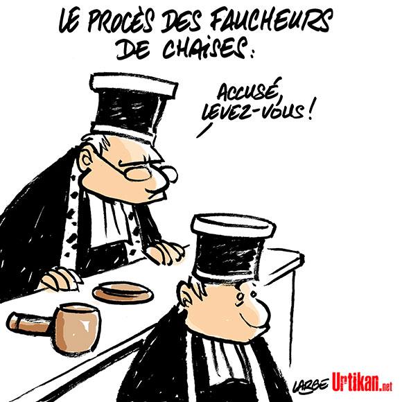 Jugé pour vol de chaises à la BNP : le procès de Jon Palais à Dax - Dessin de Large