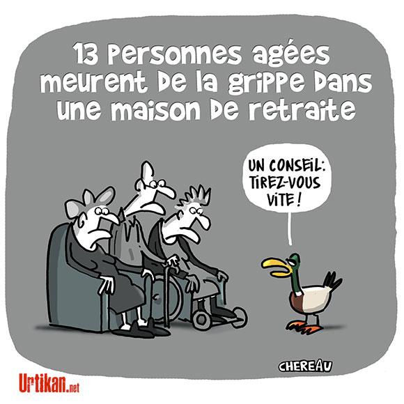 Grippe : comment expliquer la mort de treize retraités à Lyon ? - Dessin de Chereau