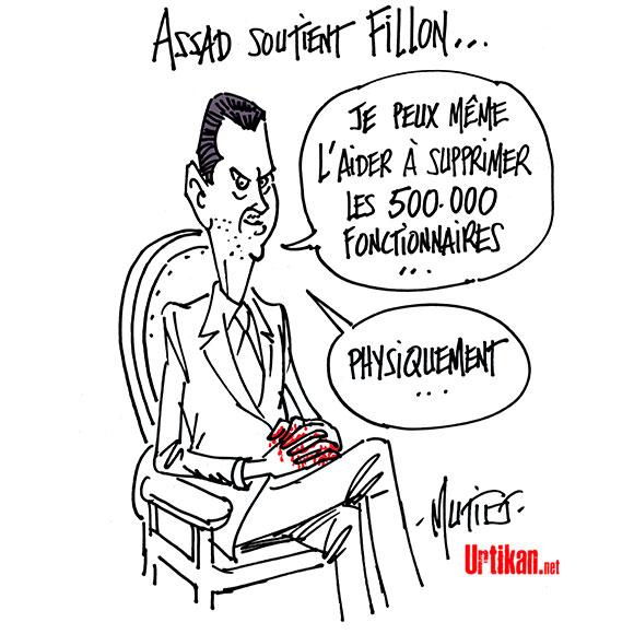 Présidentielle : Assad embarrasse Fillon - Dessin de Mutio