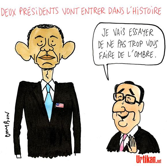 Obama - Hollande : Au revoir Présidents ! - Dessin de Cambon
