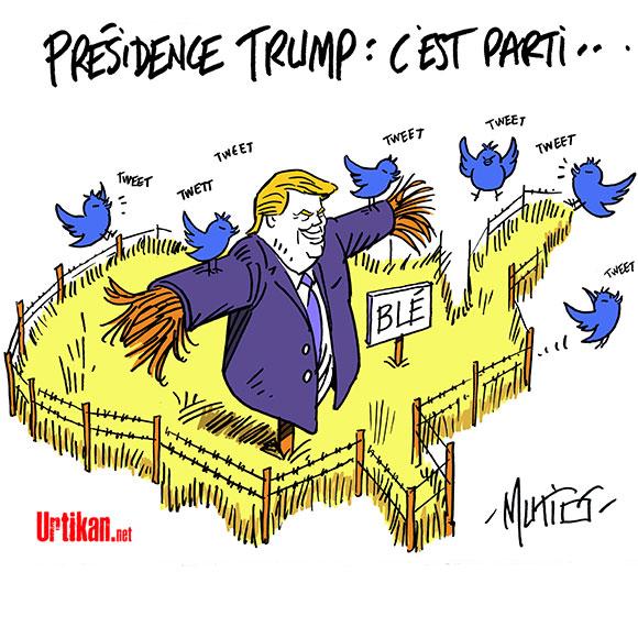 La conférence de presse de Trump enflamme les réseaux sociaux - Dessin de Mutio
