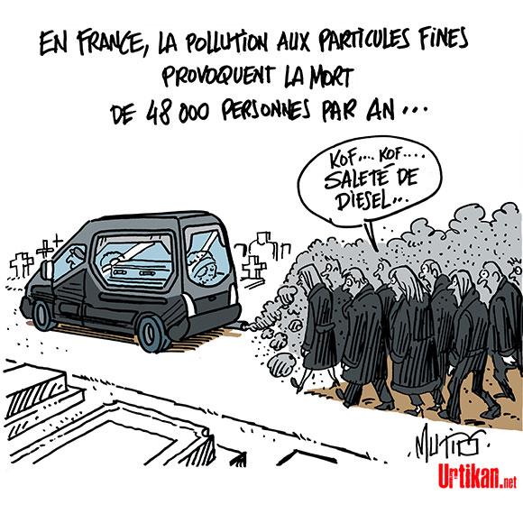 10% des décès en France sont dus à la pollution - Dessin de Mutio