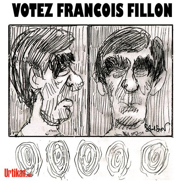 François Fillon en chute libre dans l'opinion - Dessin de Samson