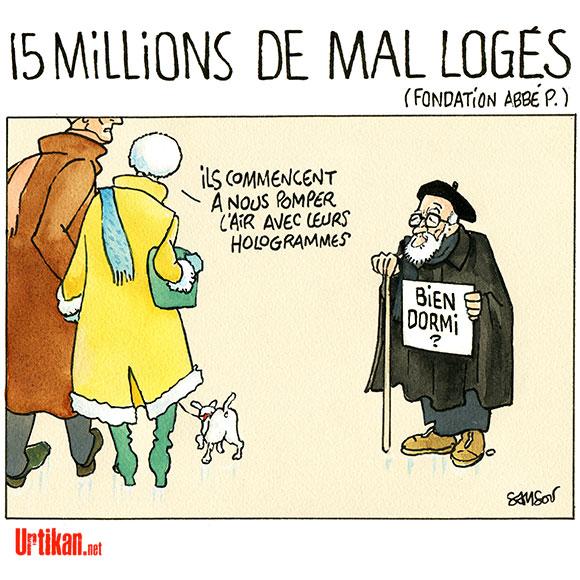 Mal-logement : la Fondation Abbé-Pierre publie son rapport - Dessin de Samson