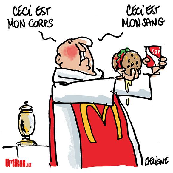 Un McDonald's ouvre à deux pas du Vatican - Dessin de Deligne