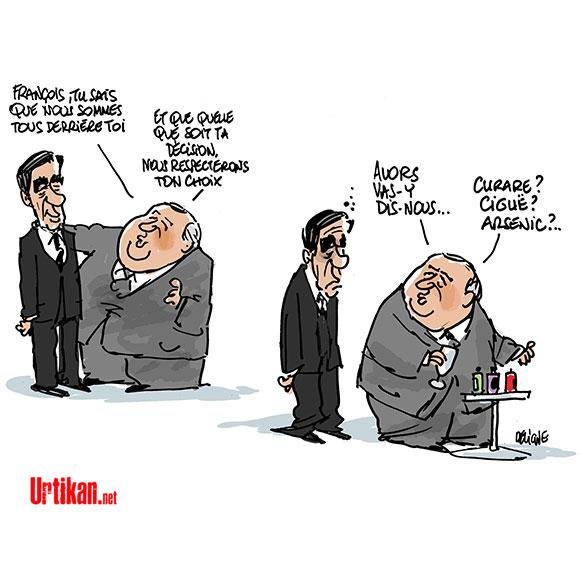 Affaire Fillon : Larcher peut-il accélérer la chute de Fillon ? - Dessin de Deligne