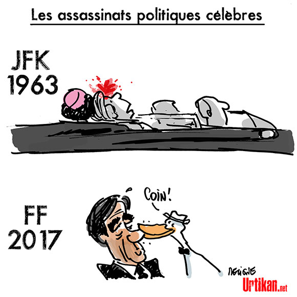 """François Fillon dénonce """"Un assassinat politique"""" - Dessin de Deligne"""