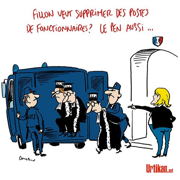 La justice se resserre autour de François Fillon et Marine Le Pen - Dessin de Cambon
