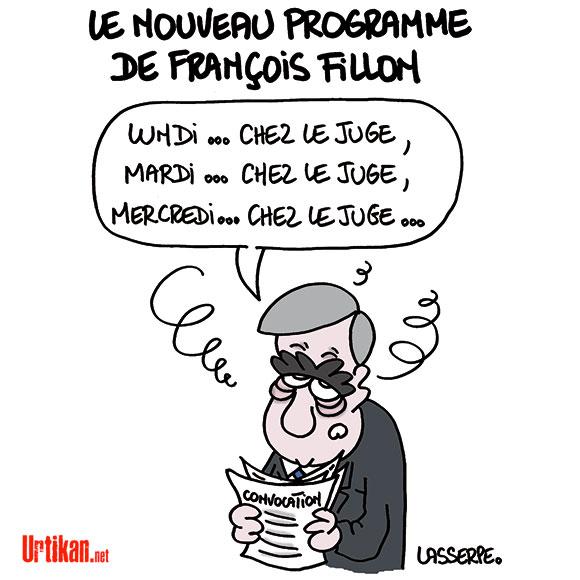 """François Fillon """"assassine la justice"""", juge la presse - Dessin de Lasserpe"""