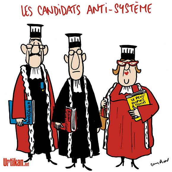 Le Pen, Fillon… Les juges troublent-ils la campagne électorale? - Dessin de Cambon