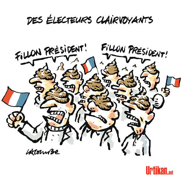 Au Trocadéro, François Fillon place la droite au pied du mur - Dessin de Lacombe