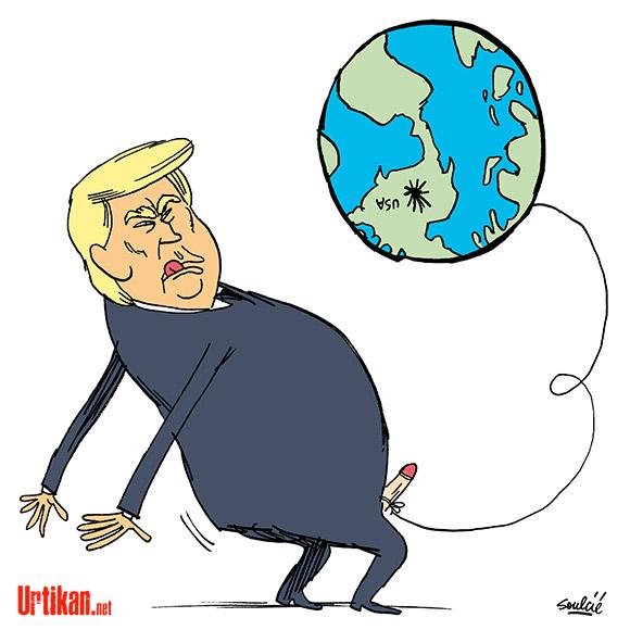 Mondialisation : Trump veut une Amérique virile - Dessin de Soulcié
