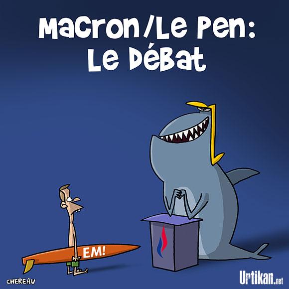 Marron - Le Pen : le débat s'envenime - Dessin de Chereau