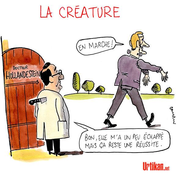 """Présidentielle : Hollande souhaite le score """"le plus élevé"""" pour Macron - Dessin de Cambon"""