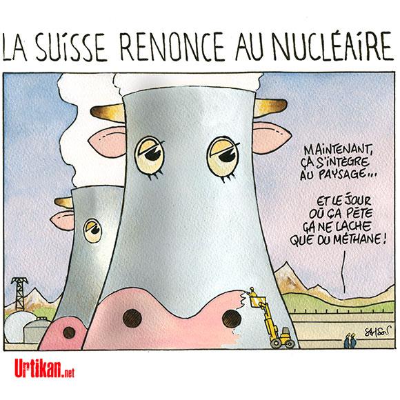 La Suisse s'affranchit de l'énergie nucléaire - Dessin de Samson