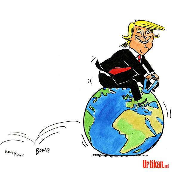 Trump et l'accord de Paris : il est passé par ici, il repassera par là… Dessin de Cambon