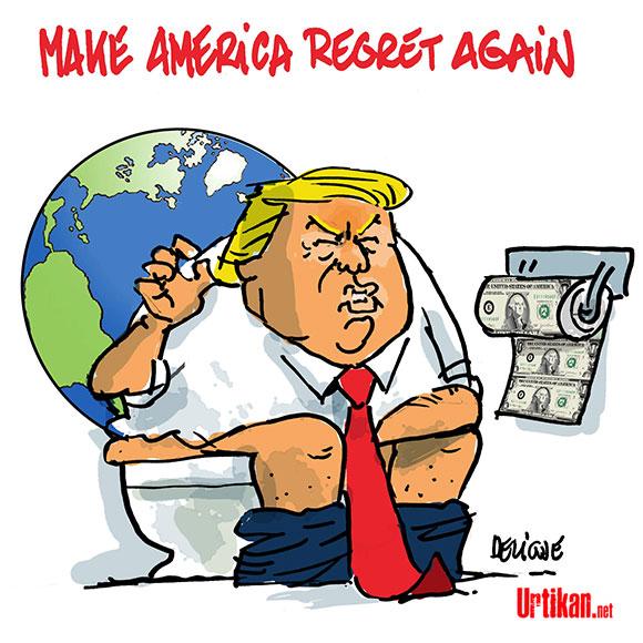 Donald Trump : climats-fosse-septique - Dessin de Deligne