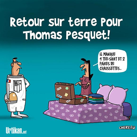Thomas Pesquet : le difficile retour à la vie terrestre - Dessin de Chereau
